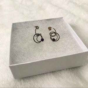 Vintage Sterling Silver Purple Stone Earrings.